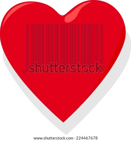 Heart with barcode - stock photo