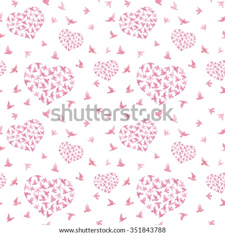 Heart with birds. Ditsy seamless pattern. Watercolor