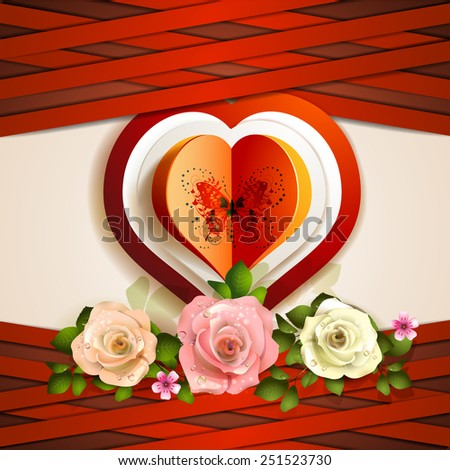 Heart with butterfly and roses for Valentine's - stock photo