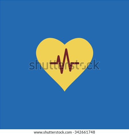 Heart with cardiogram. Colorful retro flat icon - stock photo