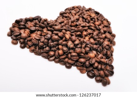 heart with coffee beans. closeup