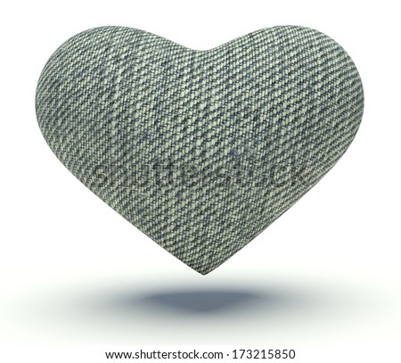 Heart with denim texture surface. 3d render illustration. - stock photo