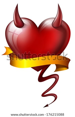 heart with diabolical properties with sash isolated on white - stock photo