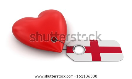 Heart with English flag (clipping path included)