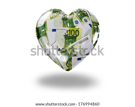 Heart with 100 euro bills - paying for love concept - stock photo