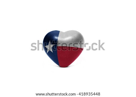 heart with flag of texas  state on the white background - stock photo