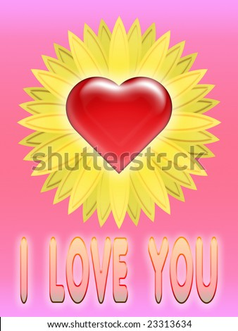 heart with flower on soft background with written i love you - stock photo