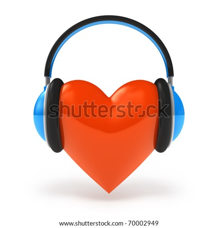 Heart with headphones. Love music concept isolated on white