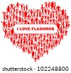 heart with many abstract happy people (i love flashmob) - stock vector