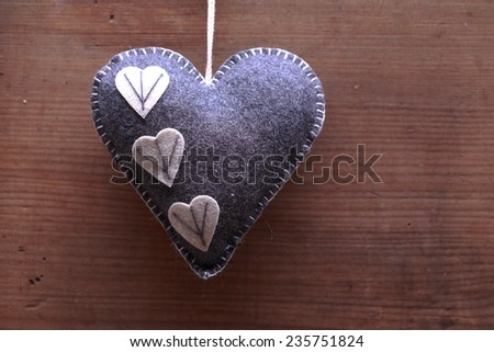 heart with merry christmas inscriptions on wooden background , christmas heart  - stock photo