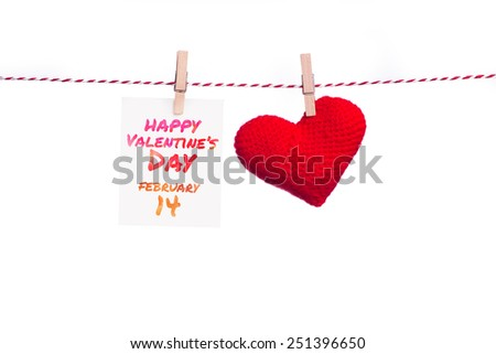 Heart with message card. Image of Valentines day. Holidays gift and heart on white background/ Valentines day background.  - stock photo