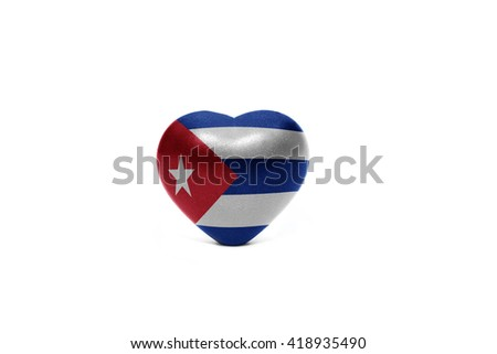 heart with national flag of cuba on the white background - stock photo