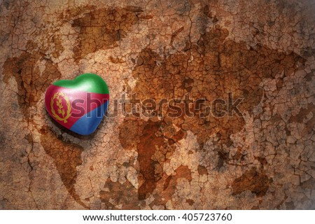 heart with national flag of eritrea on a vintage world map crack paper background. concept - stock photo