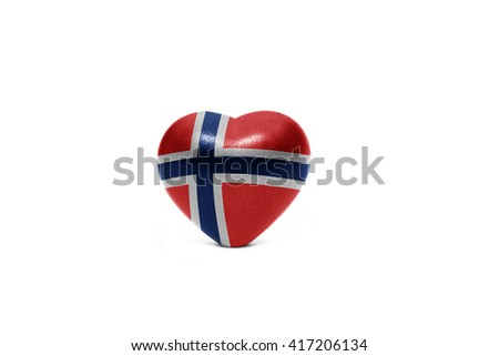 heart with national flag of norway on the white background - stock photo