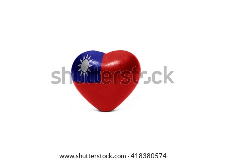 heart with national flag of taiwan on the white background - stock photo
