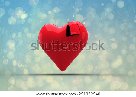 Heart with open door against blue abstract light spot design - stock photo