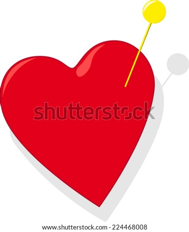 Heart with pin - stock photo