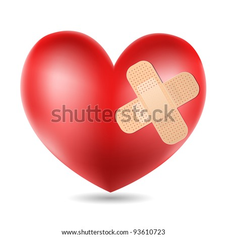heart with plaster - stock photo