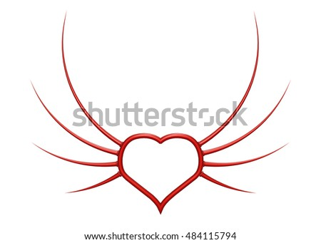 heart with prickle wings - 3d illustration