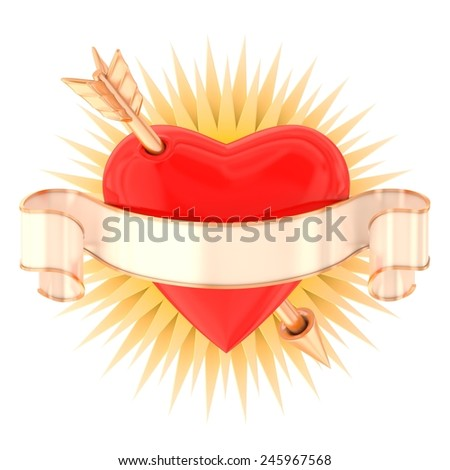 Heart with ribbon and arrow isolated on white - stock photo