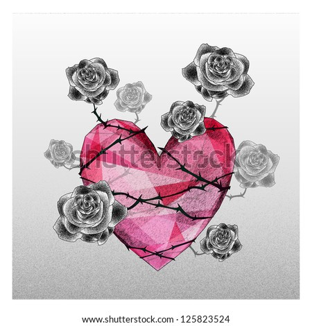 Heart with rose fall in love - stock photo
