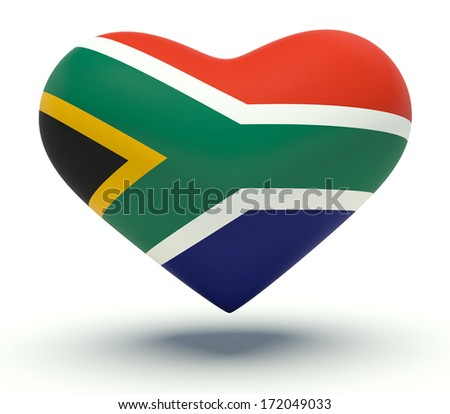 Heart with South Africa flag colors. 3d render illustration.