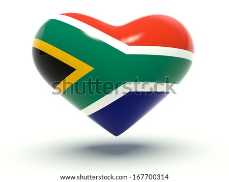 Heart with South African flag colors. 3d render illustration.