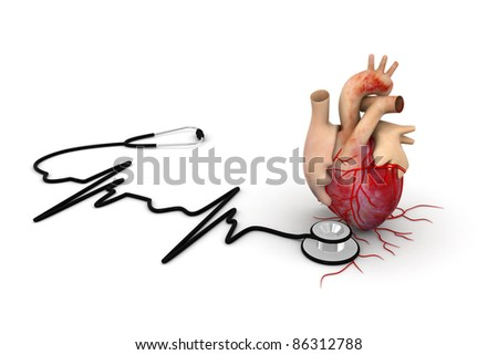 Heart with stethoscope - stock photo