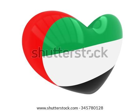 Heart with United Arab Emirates flag - stock photo