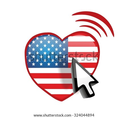 Heart with usa flag and online connect - stock photo