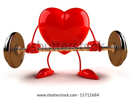 Heart with weights - stock photo