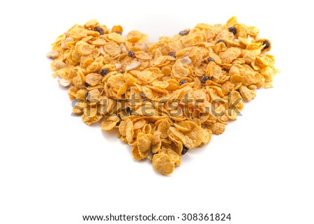 heart yellow Cornflakes isolated on white background