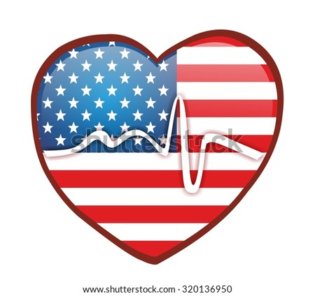 heartbeat and heart with american flag - stock photo
