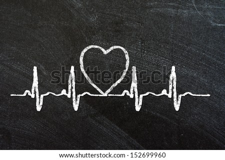 Heartbeat character and design, love heart on a chalkboard