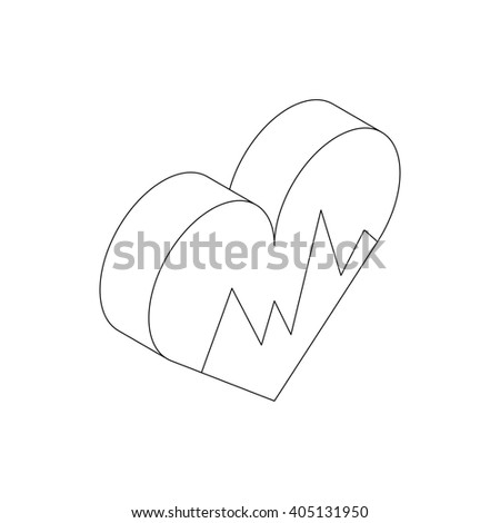 Heartbeat icon, isometric 3d style - stock photo