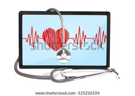 heartbeat on screen touchpad and stethoscope - stock photo