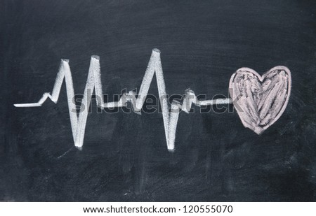 Heartbeat sign and love heart pattern - stock photo