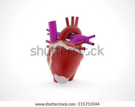 Hearth medical rendered isolated - stock photo
