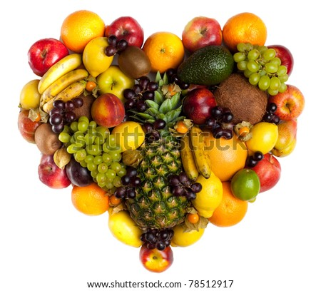 Hearth of fruits. Fresh fruits isolated on a white . Set of different fresh fruits