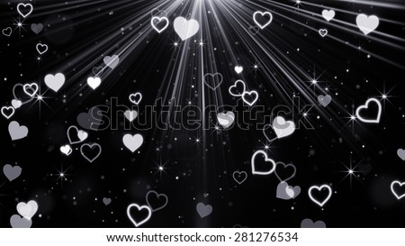 hearts and stars flying in light rays. Computer generated abstract illustration