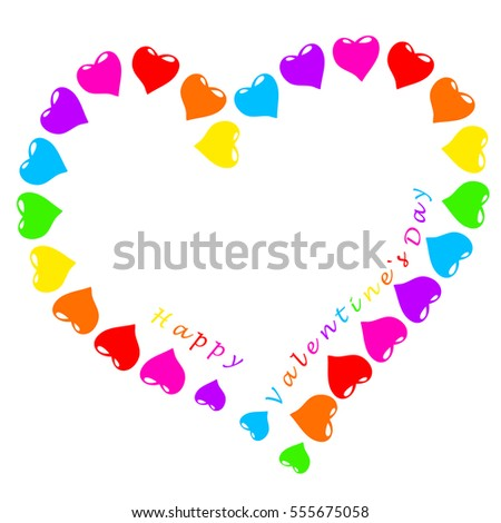 Hearts and text valentine`s day, isolated on white, 3D illustration
