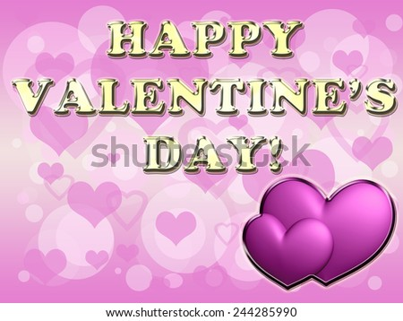 Hearts And Valentine's Day Card - stock photo