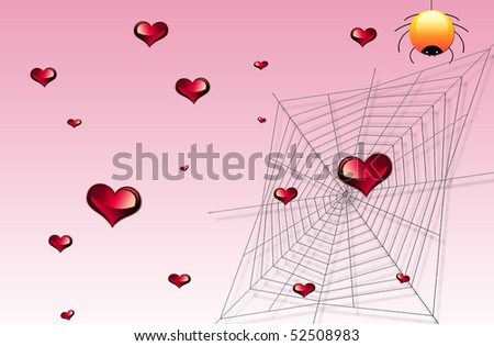 Hearts are raining on a web
