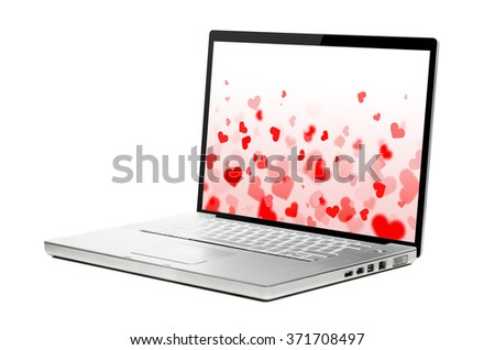 hearts background on modern laptop isolated on white background
