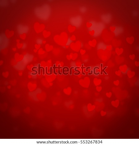 hearts background to Valentine's Day concept with shaped lights red hearts, different colored confetti and place for text, holiday background