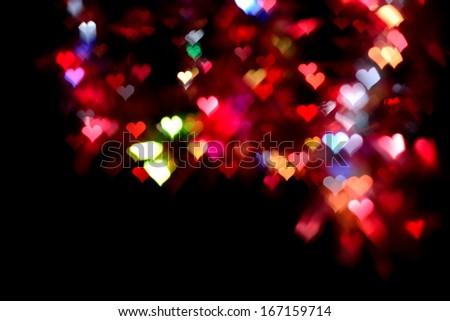 hearts bokeh light Valentine's day background  - stock photo