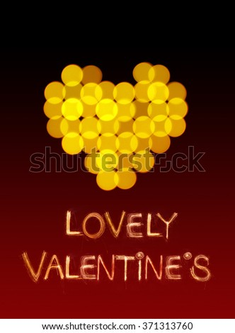 Hearts bokeh shape and Valentine word Sparkle firework for Valentine's day - stock photo