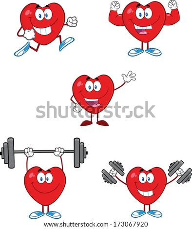 Hearts Cartoon Mascot Characters. Raster Collection Set - stock photo
