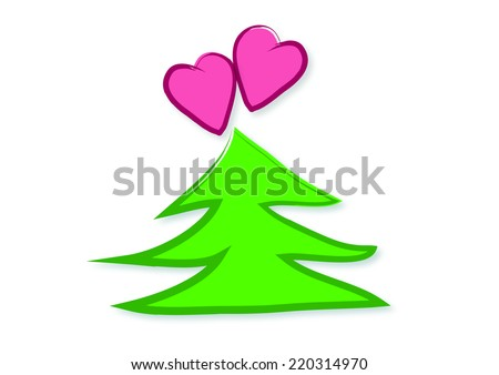 Hearts Christmas Tree Illustration