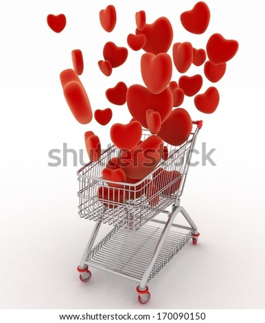 Hearts flying in supermarket trolley. 3d render illustration on white background - stock photo